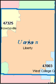 WEST COLLEGE CORNER Indiana, IN ZIP Code Map