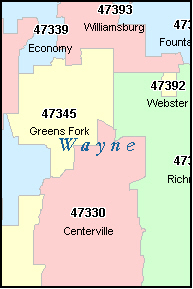 CENTERVILLE Indiana, IN ZIP Code Map