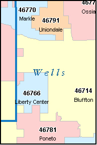 UNIONDALE Indiana, IN ZIP Code Map