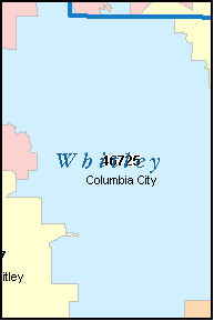 WHITLEY County, IN ZIP Code Map