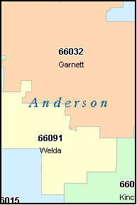 ANDERSON County, KS ZIP Code Map