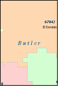 BUTLER County, KS ZIP Code Map