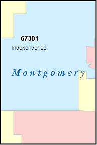 MONTGOMERY County, KS ZIP Code Map