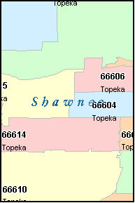 SHAWNEE County, KS ZIP Code Map