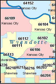 KANSAS CITY Kansas KS ZIP Code Map Downloads