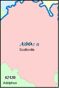 ALLEN County, KY ZIP Code Map