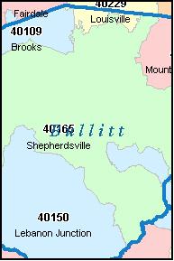 BULLITT County, Kentucky Zip Code Map, KY