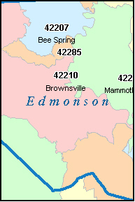 EDMONSON County, KY ZIP Code Map