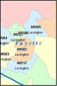 LEXINGTON Kentucky, KY ZIP Code Map