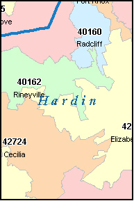 HARDIN County, KY ZIP Code Map