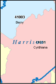CYNTHIANA Kentucky, KY ZIP Code Map