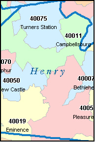 HENRY County, KY ZIP Code Map