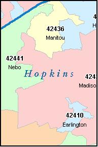 HOPKINS County, Kentucky Zip Code Map, KY
