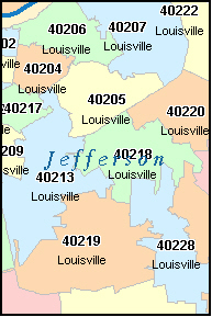 JEFFERSON County, KY ZIP Code Map