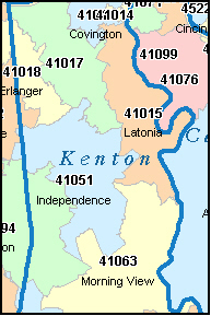 KENTON County, KY ZIP Code Map