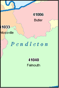 PENDLETON County, KY ZIP Code Map
