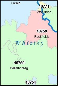 WHITLEY County, KY ZIP Code Map