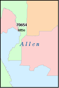 ALLEN County, LA ZIP Code Map