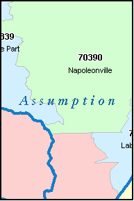 ASSUMPTION County, LA ZIP Code Map
