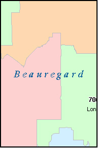 BEAUREGARD County, LA ZIP Code Map