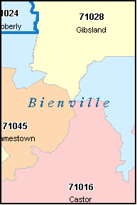 BIENVILLE County, LA ZIP Code Map