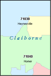 CLAIBORNE County, LA ZIP Code Map