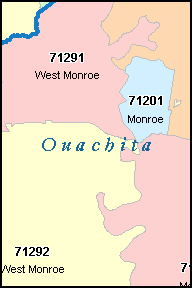 WEST MONROE Louisiana, LA ZIP Code Map