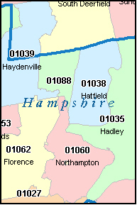 HAMPSHIRE County, MA ZIP Code Map
