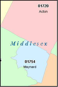 WESTON Massachusetts, MA ZIP Code Map