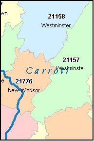CARROLL County, Maryland Digital ZIP Code Map