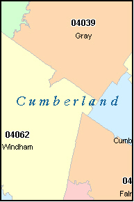 CUMBERLAND County, ME ZIP Code Map