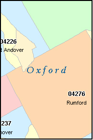 OXFORD County, ME ZIP Code Map
