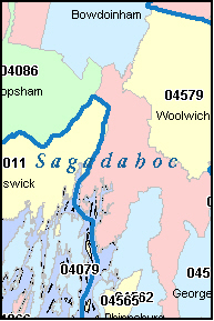 SAGADAHOC County, ME ZIP Code Map