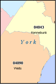 YORK County, ME ZIP Code Map