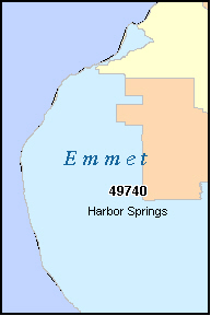 EMMET County, MI ZIP Code Map