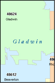 GLADWIN County, MI ZIP Code Map