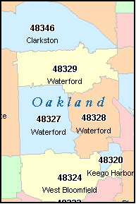 OAKLAND County Michigan Digital ZIP Code Map