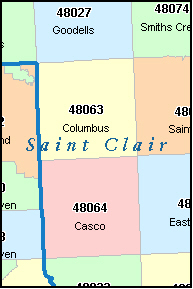 SAINT CLAIR County, MI ZIP Code Map