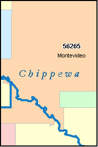 CHIPPEWA County, MN ZIP Code Map