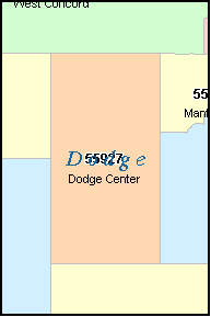 DODGE County, MN ZIP Code Map