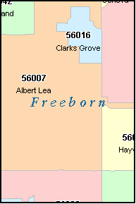 FREEBORN County, Minnesota Digital ZIP Code Map