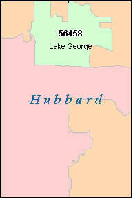 HUBBARD County, MN ZIP Code Map