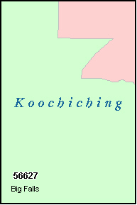 KOOCHICHING County, MN ZIP Code Map