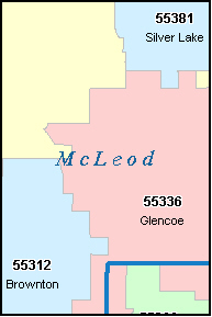MCLEOD County, MN ZIP Code Map