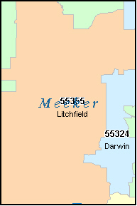 MEEKER County, MN ZIP Code Map