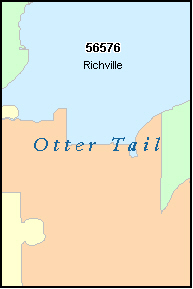 OTTER TAIL County, MN ZIP Code Map