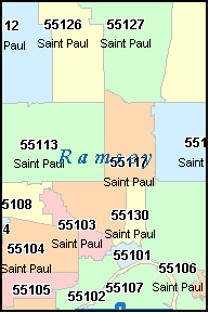 RAMSEY County, MN ZIP Code Map