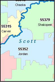 SCOTT County, MN ZIP Code Map
