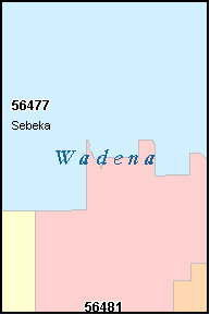 WADENA County, MN ZIP Code Map