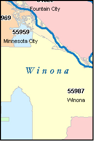 WINONA Minnesota, MN ZIP Code Map